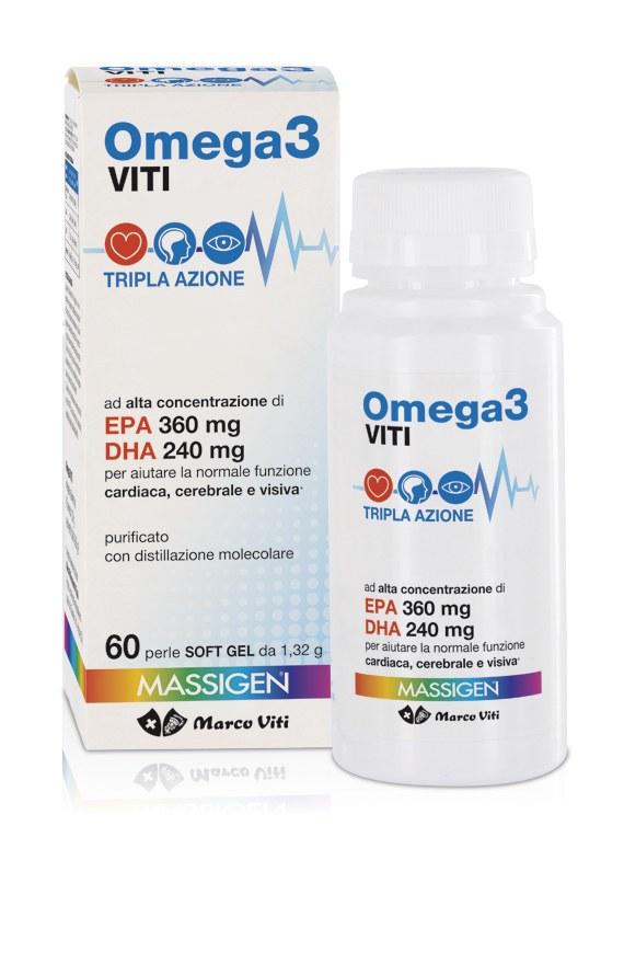 MARCO VITI FARMACEUTICI SpA Massigen Viti Omega3 Tripla Azione 60prl 1.32g