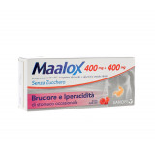 MAALOX SENZA ZUCCHERO 400+400MG 30CPR FRUTTI ROSSI