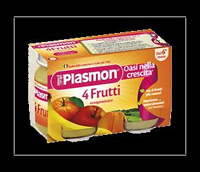 PLASMON (HEINZ ITALIA SpA) Plasmon Omogeneizzato 4 Frutti Gr 104x6 Vasetti